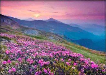 Картина на стекле Горы