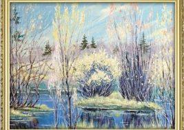 Картина на стекле Зима (масло)